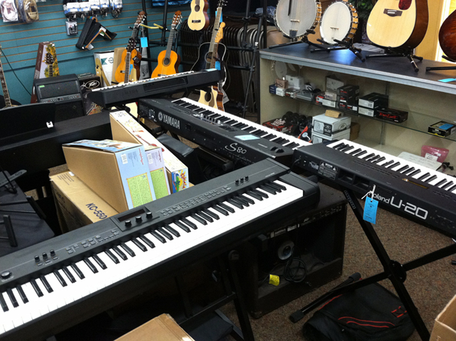 Digital keyboards at The Symphony Music Shop, North Dartmouth, MA