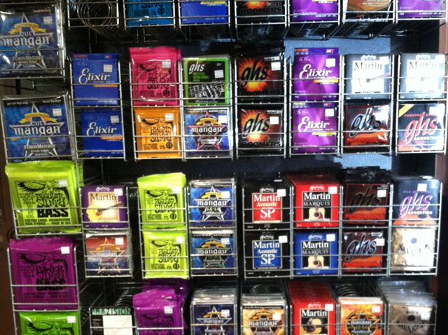 Guitar strings at The Symphony Music Shop in North Dartmouth, MA